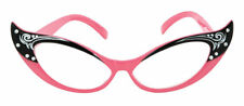 Morris Costumes Vintage 1950s Cat Eyes Sock Clear Glasses Pink One Size. BB524