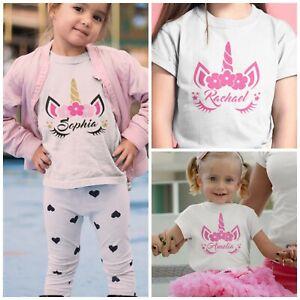 Kids Unicorn T-Shirt Personalised Printing Custom Design Name Text Printed Girls