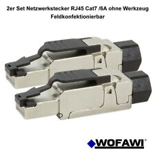 wofawi® 2x Netzwerk-Stecker  RJ45  CAT 6A/7 Feldkonfektionierbar ohne Werkzeug