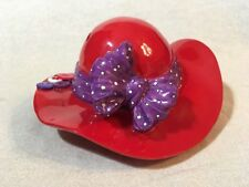 Red Hat Purple Bow & Buttons Piggy Bank Gift Society ADORABLE!