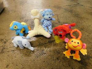 Baby Soft Sensory FUN Toy Lot Plush Rattle Vibrating Dog Monkey Elephant Giraffe