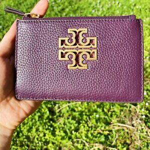 Tory Burch Britten Zip Card Case Wallet Leather Plum Purple