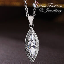 18K White Gold Filled AAA Grade Cubic Zirconia Stunning Long Oval Clear Necklace