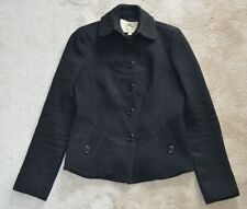 Burberry Black Button Up Wool Cashmere Jacket Peacoat Blazer Womens UK8 US6 IT40