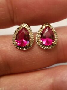 2.32 CT RUSSIAN RUBY & 1/5 CT DIAMOND 14KT SOLID YELLOW GOLD EARRINGS STUD