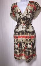 Vince Camuto Dress Tunic Gathered Front Faux Wrap Deep Pockets Orange Brown 14