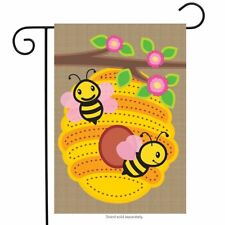"Beehive Burlap Spring Garden Flag Bees Flowers 12.5"" x 18"" Briarwood Lane"
