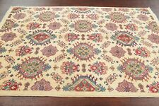Geometric Art & Craft Style Super Kazak IVORY Area Rug 5'x7' Hand-Knotted Wool