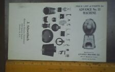 Advance gum  machine price list of parts model No. 11 Big Mouth ad sheet nice