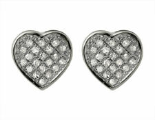 10K White Gold Ladies Heart Shaped Pave Round Diamond Stud Earrings 0.15ct 9MM