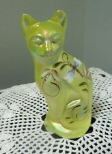 FENTON ART GLASS HAND PAINTED STYLIZED CAT 2001 TOPAZ OPALESCENT LILY TRAIL LINE