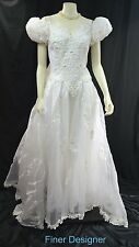 Vintage 80s Wedding long gown chffon bead lace white bridal train dress 12 L NEW