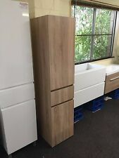 1680mm White Oak Timber Wood Grain Bathroom Tall boy Side Cabinet Glass Shelves