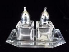 Vintage MOD Viking SALT & PEPPER SHAKER Set   Clear Cut Glass set w/ Tray labels