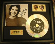 Bon Scott AC/DC Preprinted Autograph, Gold Disc & Plectrum Presentation