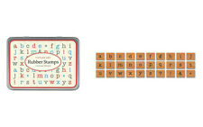 Cavallini MINI LOWER CASE AMERICAN ALPHABET Assorted Wooden Rubber Stamps in Tin