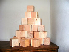 """Qty 50 - 2"""" x 2"""" Wood Craft Block Wooden Square Blocks Cubes Natural Unfinished"""