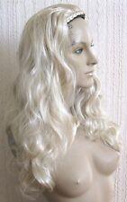 light blonde wavy curly half head long hair wig on headband fancy dress