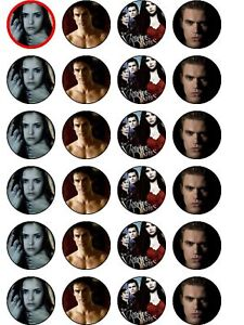 24 X PRE CUT VAMPIRE DIARIES WAFER PAPER PARTY / BIRTHDAY CUP CAKE TOPPERS