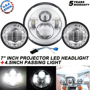 "80W 7"" LED Projector Headlight + Passing Lights Fit for Harley Touring Chrome"