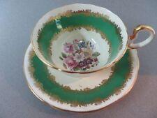 Aynsley Teacup & Saucer Green and Cream Gold gilt