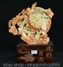 """14,8"""" Chine Naturel Jaune Xiu Jade Jadeite Sculpté Papillon Prune Fleur Statue"""