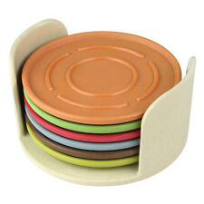 Set 6 Round Colourful Bamboo Fibre Coasters Holder Eco Friendly Drink Placemats