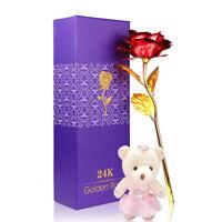 Luxury 24K Gold Plated Rose Flower Valentine's day Birthday Gifts + Teddy Bear