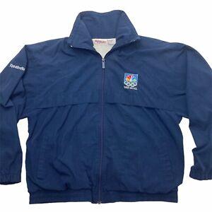 Vintage 80s REEBOK 88 NBC Peacock Olympics Seoul Korea Men's Medium Blue Jacket