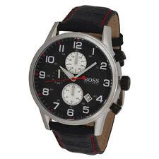 Hugo Boss XL Quarz Chronograph 1512631 wasserdicht 5ATM Edelstahl/Leder UVP299€