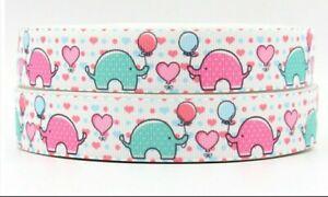 "ELEPHANT Grosgrain RIBBON 1m x 22mm width (7/8"") birthday cake bows elephants"