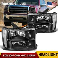 For 2007-2014 Gmc Sierra 1500 2500Hd 3500Hd Black Headlights Headlamps Lamp Pair (Fits: Gmc)