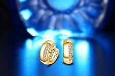 Shiny 18K/18ct Yellow Gold PL Hoop Circle Huggie Cubic Zirconia CZ Earrings Gift