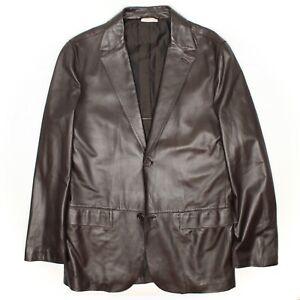 Ermenegildo Zegna Mens Leather Sport Coat 40R Dark Brown Blazer Made in Italy