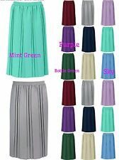 "New Ladies Quality Plain Pleated Skirts Elasticated Waist 27"" Lenght 12 to 24"