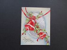 #K92- Vintage Used Silver Foil  Xmas Greeting Card Pretty Holiday Bells