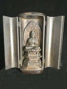 Hand-carved Japan Kannon Buddha in zushi shrine 19th-20th c