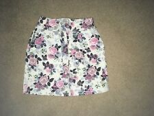 Ladies H & M pink/blue floral denim  above knee length skirt size   8