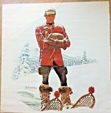 """VINTAGE A. FRIBERG """"MOUNTIE ON SNOWSHOES"""" RCMP PRINT 20"""" SQ. 1977"""