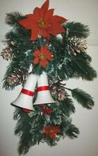 Vtg Christmas Wreath Spray Flocked Poinsettia Bells Greenery Holly Decoration