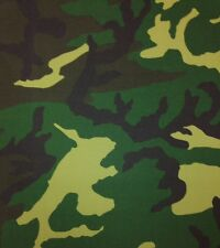 CAMOUFLAGE GREEN BLACK BROWN CAMO 100% POLYESTER FABRIC BY THE YARD 56