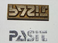 Alter Messing Stempel - Pasit - Druckplatte ?     #6319