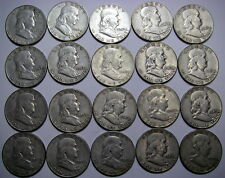 1949 S Roll of 20 US 90% Silver Franklin Half Dollars, Key Date, Nice Avg. Circ
