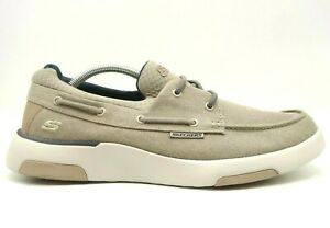Skechers Brown Canvas Casual Slip On Comfort Deck Loafers Shoes Men's 10