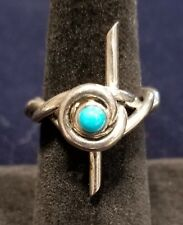 Barbed Wire Ring Sterling Silver with Turquoise