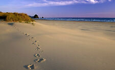 Framed Print - Footprints in the Sand with Purple Sky (Picture Poster Beach Art)
