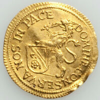 GORGEOUS, RARE, IRRESISTIBLE 1677 Swiss gold 1/4 ducat Zurich Canton XF (BENT)