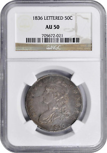 Silver Half Dollar Capped Bust USA 1836 KM# 37 O-110 Rarity-1 NGC AU-50