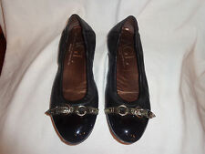 Used Womens AGL Black leather cap toe ballet flats shoes EUR 37.5 US 7