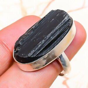 Black Tourmaline Handmade Ethnic Gemstone Gift Jewelry Ring Size 6.5 H473